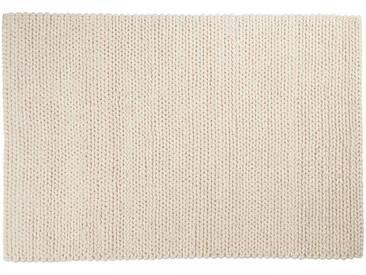 Kalim: 150cm x 200cm weißer Wollteppich, weiche Naturwolle, Hygge, klobige Wollteppiche