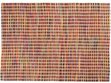 Avi: 80cm x 100cm mehrfarbiger Webteppich, buntes Design, flach, stark, viele Farben, Wolle