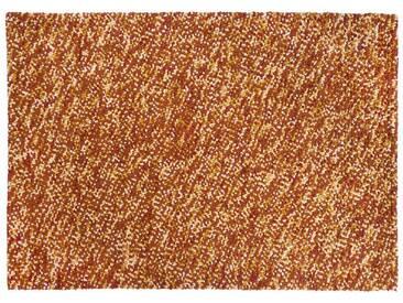 Hiran: 80cm x 100cm Gefilzte Wolle, Teppich, Orange, Gelb, Weiß, Braun, Handarbeit in Indien