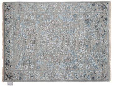 Kanhaya - handgeknüpft:  Blaugrauer Seidenteppich, orientalisches Muster