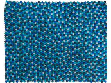 Sajita - rechteckig: 170cm x 240cm Gefilzt Balls Indien Teppich Blau Farbe rechteckige Form Designer, Filzkugeln