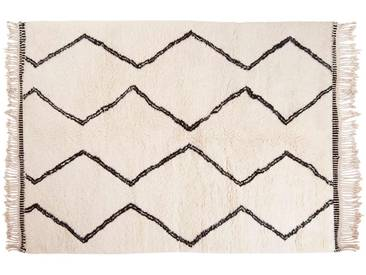 Naima: 150cm x 200cm Beni Ourain Wollteppich, Marokkanische Berber Teppich, Handgefertigt