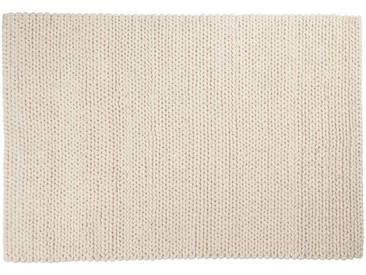 Kalim: Custom Size weißer Wollteppich, weiche Naturwolle, Hygge, klobige Wollteppiche