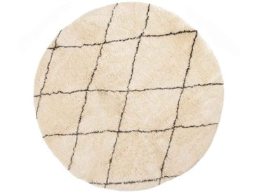 Khadija - rund: 20cm Beni Ourain, runder Teppich, Rautenmuster, Schafwollteppiche, weiß