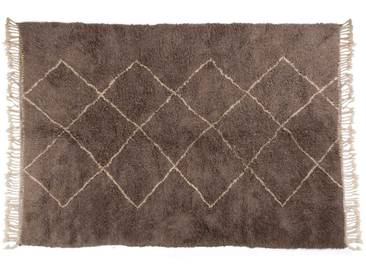 Aicha – grau: 150cm x 200cm Marokkanischer Berberteppich, grau, Rautenmuster, Beni Ourain