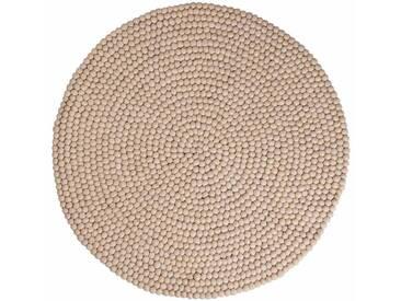Roshni - rund: 150cm Naturfarben Bio Bio-Teppich aus Wolle hergestellt in Nepal, Filzkugeln