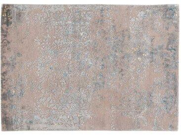 Abdul - handgetuftet:  Perserteppich, Handgetuftete Wolle und Bambus Seide, Hellgrau mit Blau