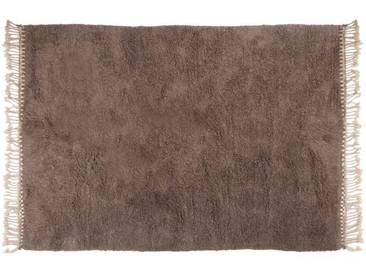 Amina - grau: 100cm x 140cm Beni Ouarain Berber Teppich, grau, ohne Muster, aus reiner Wolle, handgeknüpft