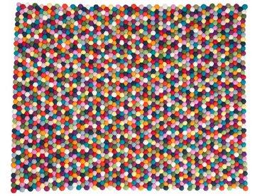 Alisha - rechteckig: 15cm x 20cm Kugelteppich, Filzkugelteppich, Hay Teppich Pinocchio, Bunte Filzteppich
