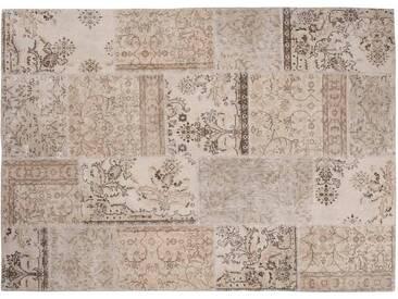 Ela: 15cm x 20cm Vintage-Off-White Teppich Patchwork Entwurfs-handgemachte in der Türkei Recolored