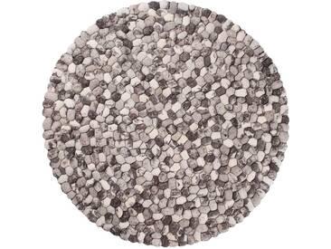 Ayaan - rund : 20cm Filzteppich, Steinteppich, Runder Teppich, Steinoptik, Grau, Pebble, Woll