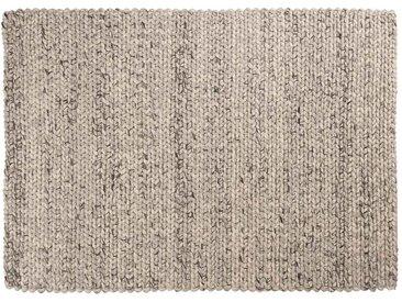 Kayum: 150cm x 200cm Elfenbein grau Wollteppich, handgemachte geflochtene Teppiche, indische dicke Wolle