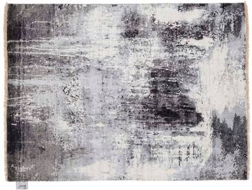 Pappu - handgeknüpft:  Vintage Orientteppiche, persisches Design, Bambus Seide und Wolle, weib grau