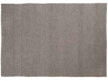 Mohit: 170cm x 240cm grauer Teppich, Esszimmer, Schafwollteppich, großer Teppich
