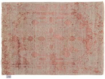 Kamaal - handgeknüpft:  Hand geknoteter Wollteppich, weibe rosa Farbe, Muster