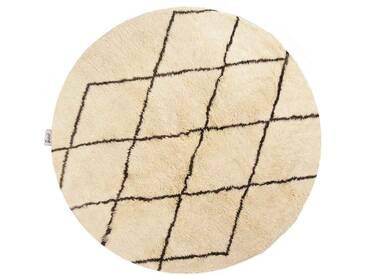 Aicha - rund: 100cm Runde Berberteppiche, weiße Schafwolle, Rautenmuster, neueste Mode, handgeknüpft, Schlafzimmer