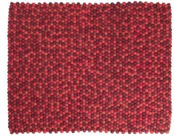 Bianca - rechteckig: 15cm x 20cm Shades of Red Round Teppich Filz-Woll-Kugeln Living Room, Filzkugeln