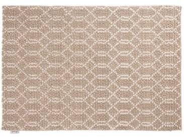 Jai: 80cm x 100cm naturweißer Webteppich, silbergrau, modernes Design, starke handgefertigte Teppiche