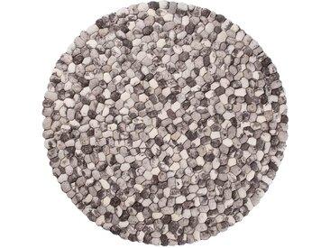Ayaan - rund : 140cm Filzteppich, Steinteppich, Runder Teppich, Steinoptik, Grau, Pebble, Woll