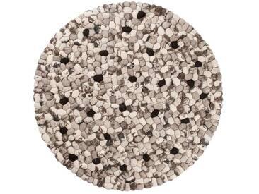 Ishaan - rund: 250cm Steinen Gefilzt Woll-Teppich Runde Schwarzweiss aus Indien, Modern Design