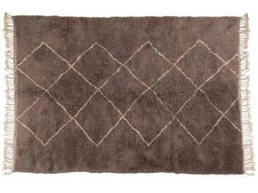 Aicha – grau: 15cm x 20cm Marokkanischer Berberteppich, grau, Rautenmuster, Beni Ourain