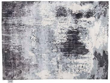 Pappu - handgetuftet:  Weiber grauer schwarzer orientalischer Teppich, moderner Designer, Bambus seide