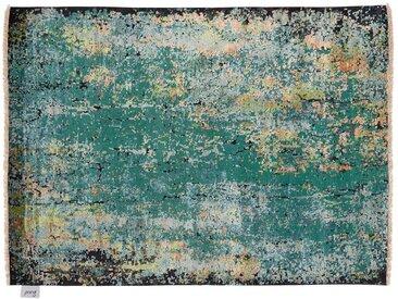 Zehrul - handgeknüpft:  Gruner persischer Teppich, von Hand geknotet, in Indien hergestellt