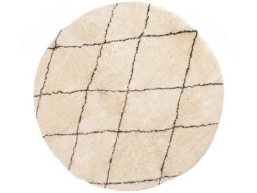 Khadija - rund: 120cm Beni Ourain, runder Teppich, Rautenmuster, Schafwollteppiche, weiß