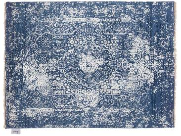 Balan - handgeknüpft:  Weiber blauer indischer Teppich, handgemacht, fairer Handel