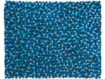 Sajita - rechteckig: 120cm x 170cm Gefilzt Balls Indien Teppich Blau Farbe rechteckige Form Designer, Filzkugeln