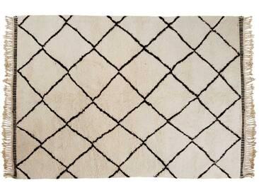 Khadija: 170cm x 240cm Beni Ourain Teppich Rautenmuster Berber Wollteppich