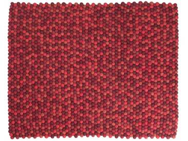 Bianca - rechteckig: Custom Size Shades of Red Round Teppich Filz-Woll-Kugeln Living Room, Filzkugeln