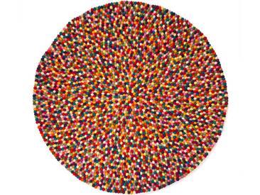Alisha - rund: 20cm Filzkugelteppich, Pinocchio Teppich, Runder Kugelteppich, Bunte Filzkugeln