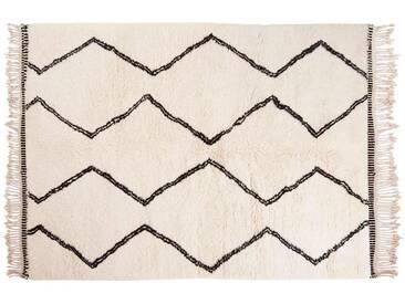 Naima: 100cm x 140cm Beni Ourain Wollteppich, Marokkanische Berber Teppich, Handgefertigt
