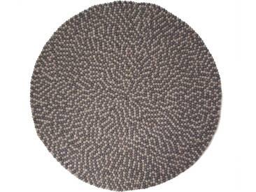 Aruna - rund: 200cm Doppel Grau Rund Indian Filzkugelteppich Gefilzt Balls Interior Design