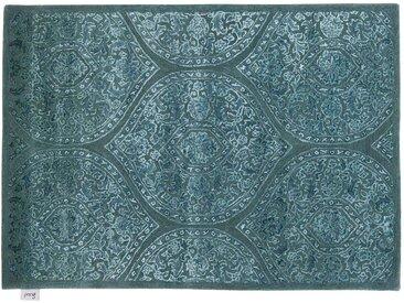 Aadesh - handgetuftet:  Handgetuftete Wolldecke, aus Indien, Blau und Grun