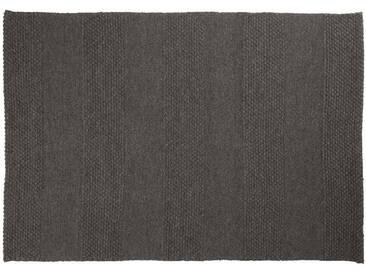 Farid: 80cm x 100cm Holzkohle schwarz, Flachgewebeteppich, modernes Entwurf, Wohnzimmer, robust