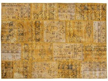 Zehra: 250cm x 300cm Designer Patchwork Teppich Yellow Handgefertigt aus Alte Vintage-Teppiche