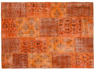 Nehir: 80cm x 100cm Orange Vintage Overdyed Patchwork Oriental Teppich in allen Größen erhältlich Online