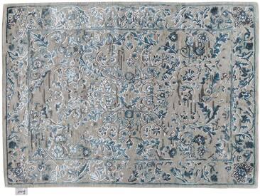 Kanhaya - handgetuftet:  Glanzender Seide- und Wollteppich, sehr weiche Beschaffenheit, blaue und graue Schatten