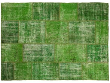 Ecrin: 170cm x 240cm Grüne Vintage Patchwork Teppiche Handgefertigt aus alten Perserteppiche