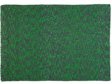 Maya:  Grauer und gruner super weicher Teppich, gestrickte Wolle von Hand
