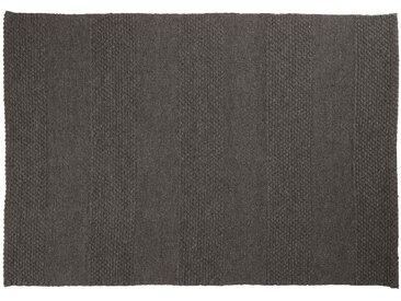 Farid: 300cm x 400cm Holzkohle schwarz, Flachgewebeteppich, modernes Entwurf, Wohnzimmer, robust