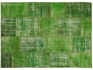 Ecrin: 80cm x 100cm Grüne Vintage Patchwork Teppiche Handgefertigt aus alten Perserteppiche