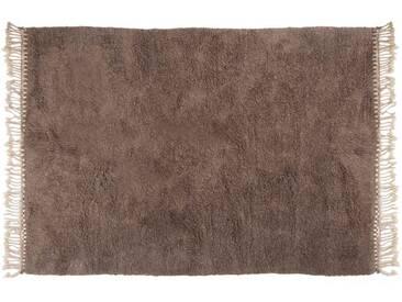 Amina - grau: 120cm x 170cm Beni Ouarain Berber Teppich, grau, ohne Muster, aus reiner Wolle, handgeknüpft