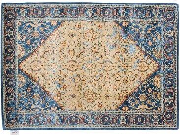 Rajendra - handgetuftet:  Traditioneller persischer Teppich, blaue und beige Farben, handgemacht aus Wolle und Seide