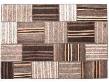 Medine: Custom Size Kelim Klassiker Patchwork Teppich in Beige Dark and Light Braun Farben, Christmas Sale