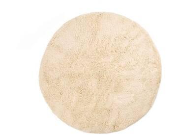 Amina – rund : 90cm runder marokkanischer Teppich, weiß, Naturwolle, hochflorig, fairer Handel, Beni Ourain