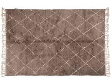 Khadija – grau : 15cm x 20cm marokkanischer Teppich, Berber-Stil, graue handgeknüpfte, Wollteppich, Rautenmuster