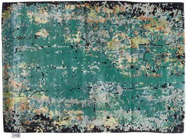 Zehrul - handgetuftet:  Designer Teppich, Ziegler Style, frische grune Seide, handgemacht mit Liebe